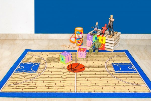 Basketball Blue Kid Play Area Rug for Bathroom