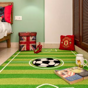 Strips Soccer Play Area Rug for Kids Playroom