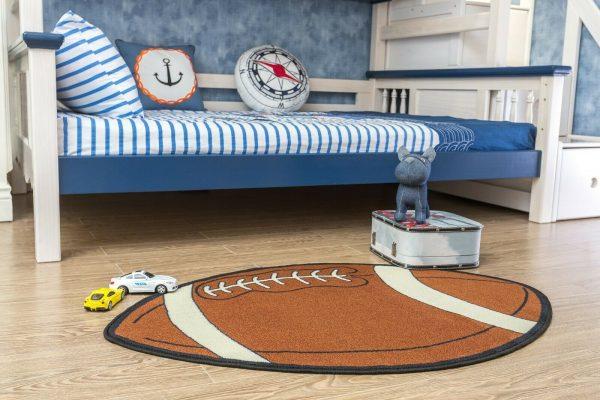 Football Shape Kids Play Area Rug for Playroom